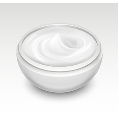 Bowl with white cream vector