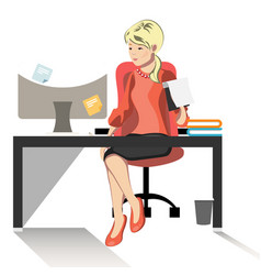Business woman or a clerk working at her office vector