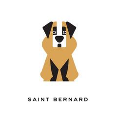 Cartoon saint bernard dog character in flat style vector
