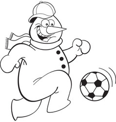 Cartoon snowman playing soccer vector image
