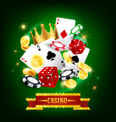 casino gambling game with cards dices and chips vector image