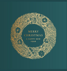 christmas greetings banner template winter vector image