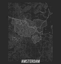 City map amsterdam elevation map of vector