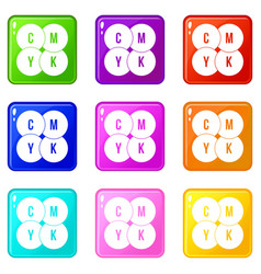 cmyk circles icons 9 set vector image