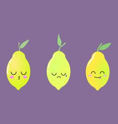 colorful bright cute set with kawaii lemons vector image