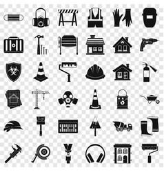 construction site icons set simple style vector image