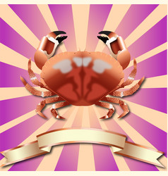 Crab realistic background and copper ribbon vector