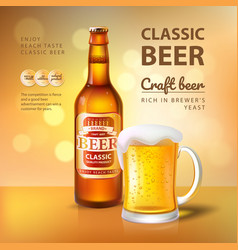 Craft beer in bottle and mug with foam poster vector