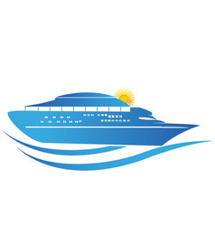 cruise ship sunny waves icon vector image