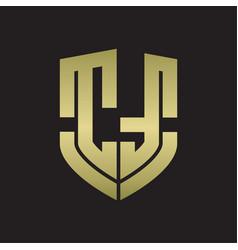 ct logo monogram with emblem shield shape design vector image