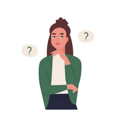 curious young woman solving problem pensive or vector image