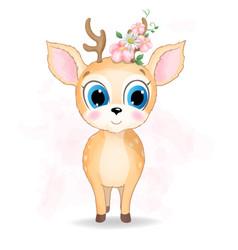 Cute baby deer watercolor vector