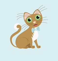 Cute gentleman cat wearing a butterfly vector image