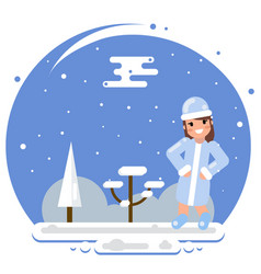 cute girl snow maiden winter flat design character vector image
