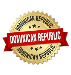 Dominican Republic round golden badge with red vector image