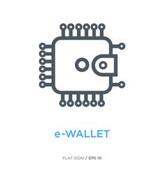 E-wallet line flat icon vector