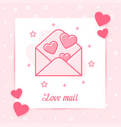 envelope hearts valentine card love mail text icon vector image
