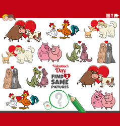 Find two same cartoon animal couples vector