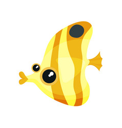 Flat icon of yellow-orange moorish idol vector