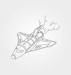 Flying spaceship line art background symbol design vector