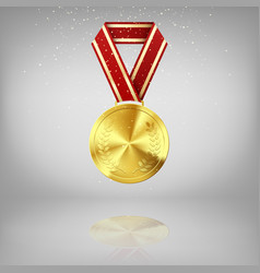 golden medal with laurel and red ribbon gold vector image