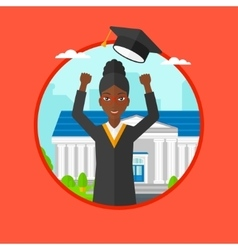 Graduate throwing up hat vector image