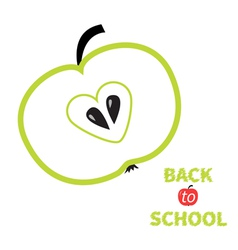 Green apple with heart center seed Back to school vector