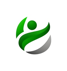 Green people ecology logo vector