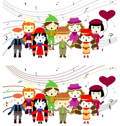 Group of kids singing vector image