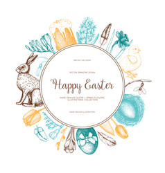 Happy easter day vintage design vector