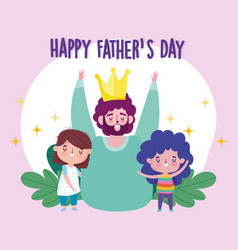 Happy fathers day celebrating dad with little son vector