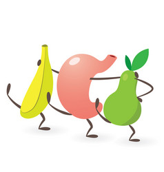 Happy stomach dancing with fruits vector