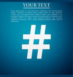 Hashtag icon on blue background social media sign vector