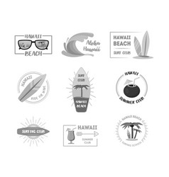 hawaii badges or labels set vector image