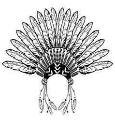 Headdress with plain feathers vector