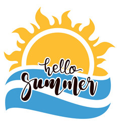 hello summer text with sun and ocean symbols vector image