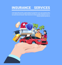 Insurance service protection concept hand car life vector