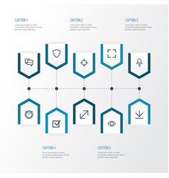 Interface outline icons set collection of full vector