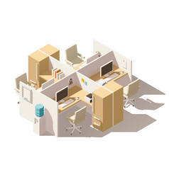 Isometric low poly office cubicle vector