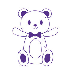 kids toy teddy bear with bow tie cartoon icon vector image