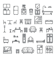 Lineart flat furniture icons and symbols set vector