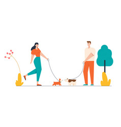 Male and female characters walking with dogs vector