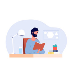 Man at desk male reading book adult student vector