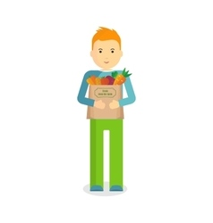 Man with fresh vegetables vector