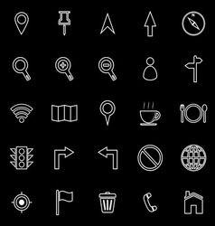 Map line icons on black background vector