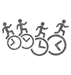 Men Running Over Clocks Grainy Texture Icon vector