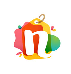 n letter logo with sale tag icon watercolor vector image