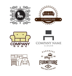 office furniture and house logo icons set vector image
