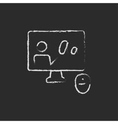 Online tutorial drawn in chalk vector image