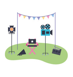 Production movie film chair light camera vector